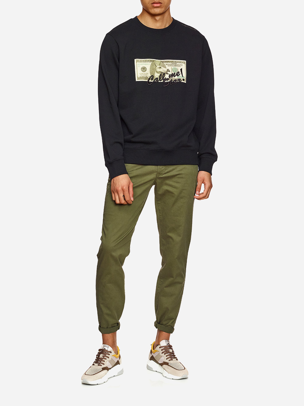 Printed Black Sweater